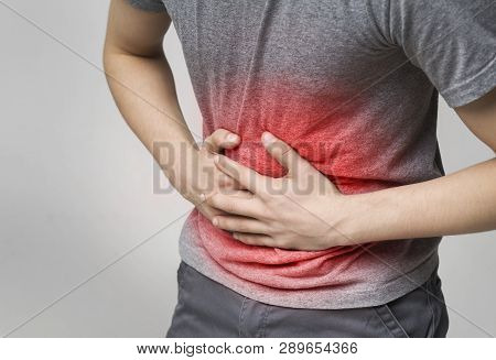 Sick Man Holding Stomach, Suffering From Pain, Diarrhea, Indigestion Problem