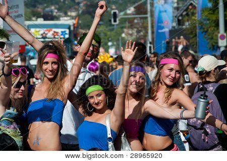 Happy sporty girls