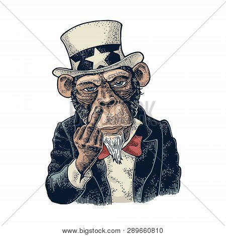 Monkey Uncle Sam With Raised Middle Finger Vintage Engraving