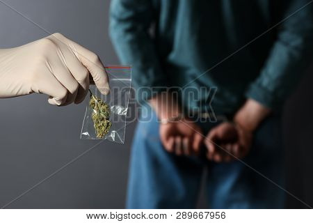 Police Worker Holding Hemp In Plastic Bag Near Arrested Drug Dealer On Color Background