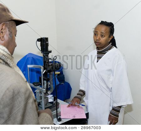 A Patient In The Examination Room Having A Consultation With A Catract Surgeon At The Nekemte Eye Cl