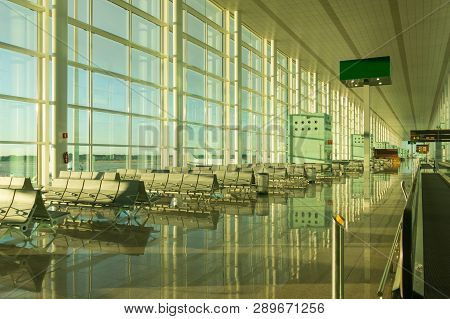 Boarding Lounge In Barcelona International Airport El Prat Interior . Airport Is One Of The Biggest