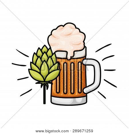 Beer With Foam And Pinecone Isolated Icon Vector Illustration Desing