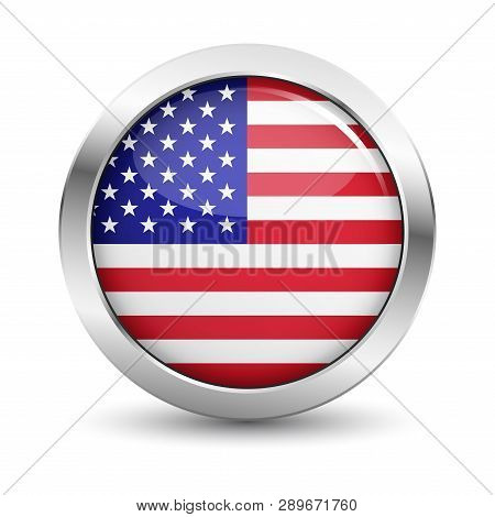 Usa Icon Silver Glossy Badge Button With United States Of America Flag And Shadow Vector Eps 10 Illu