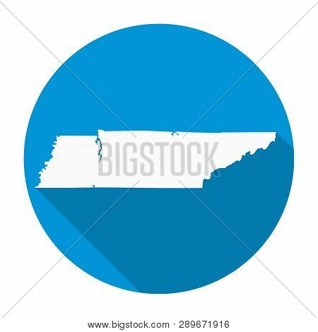 Tennessee State Map Flat Icon With Long Shadow Eps 10 Vector Illustration On White Background.