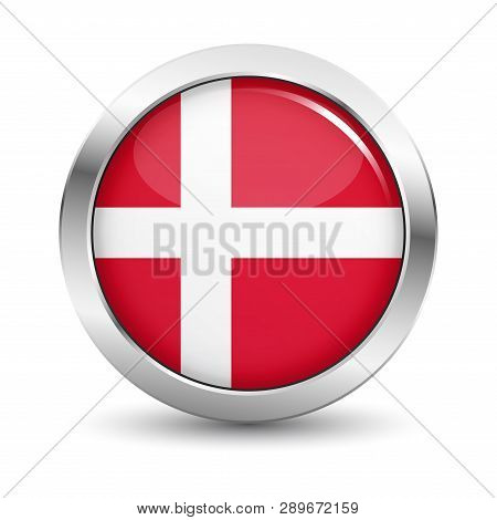 Denmark Icon Silver Glossy Badge Button With Danish Flag And Shadow Vector Eps 10 Illustration On Wh