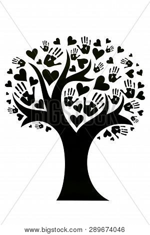 Tree Whose Leaves Are Depicted In The Form Of Palms And Hearts. The Concept Of Peace, Unity, Friends