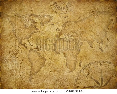 Old world exploration map based on image furnished by NASA
