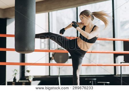 Kickboxing Woman Training Punching Bag In Fitness Studio Fierce Strength Fit Body