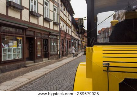 Yellow Tour Train In Wernigerode Germany In The Streets Picking Up People For The Tour