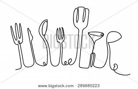 Cooking Seamless Pattern. One Line Style Utensils. Outline Drawing Of Isolated Kitchen Cutlery. Use