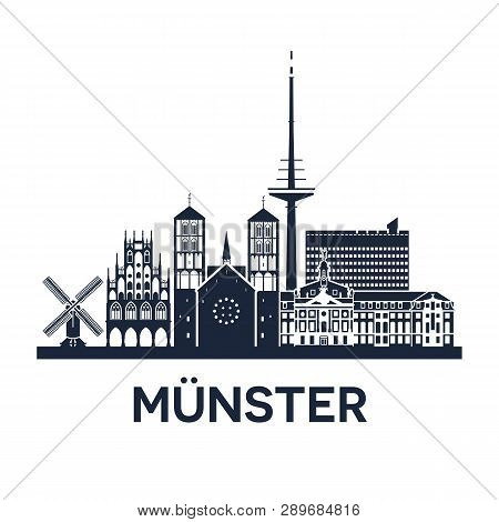 Skyline Emblem Of Munster, City In North Rhine-westphalia, Germany