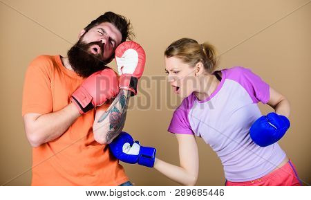 Family Fight. Knockout And Energy. Couple Training In Boxing Gloves. Training With Coach. Happy Woma