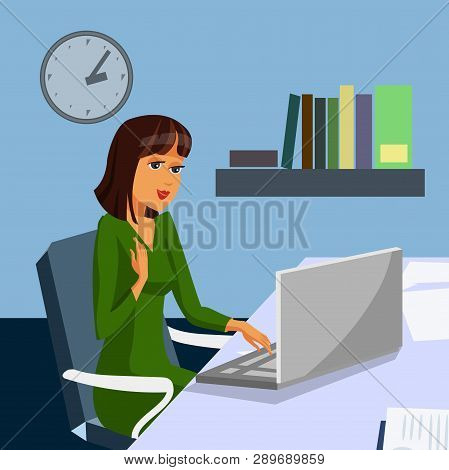 Businesswoman in Working Office Color Illustration. Female Boss, Investor, Trader. Careerist Cartoon Character. Successful, Confident, Wealthy Woman Flat Poster. Laptop, Workplace Vector Drawing poster
