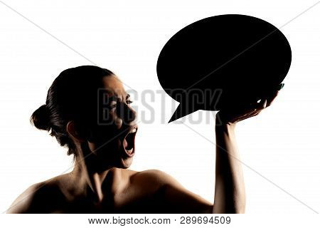 Angry Girl With Speech Balloon