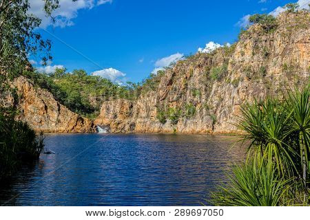 The Creek Carrying The Clear Water Of Edith Falls Lelyin With The Rock Wall Reflecting In The Water,