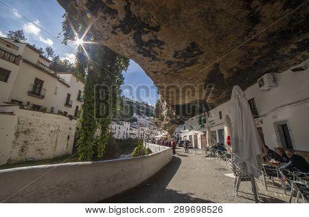 Setenil, Spain - March 4th, 2019: Street With Dwellings Built Into Rock Overhangs. Setenil De Las Bo