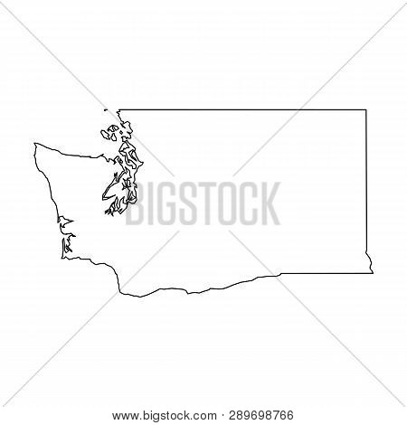 Washington, State Of Usa - Solid Black Outline Map Of Country Area. Simple Flat Vector Illustration