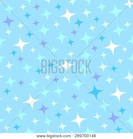 Seamless Pattern With Starlight Sparkles, Twinkling Stars. Shiny Blue Background. Cartoon Style. Goo