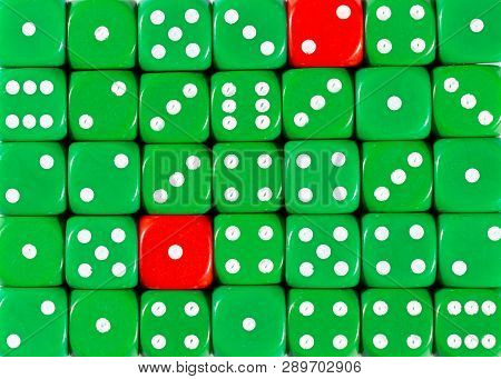 Pattern Background Of Random Ordered Green Dices With Two Red Cubes