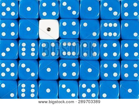 Pattern Background Of Random Ordered Blue Dices With One White Cube