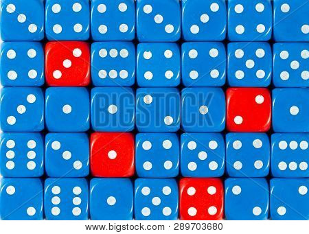 Pattern Background Of Random Ordered Blue Dices With Four Red Cubes