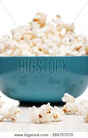 Blue Bowl With Popcorn