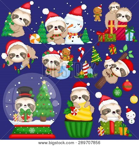 A Vector Set Of Cute Sloth Wearing Christmas Stuffs And Decorations