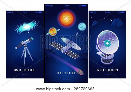 Astrophysics Space Research Science Mission 3 Vertical Isometric Banners With Radio And Small Optica
