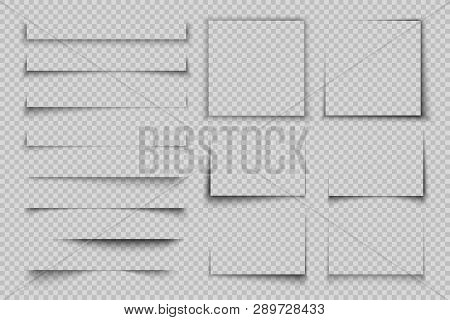 Paper Shadow Effect. Rectangle Box Square Shadow, Realistic Transparent Label Element, Banner Poster