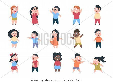 Cartoon Children. Boy And Girl School Characters, Set Happy Little Child, Elementary School Group. V