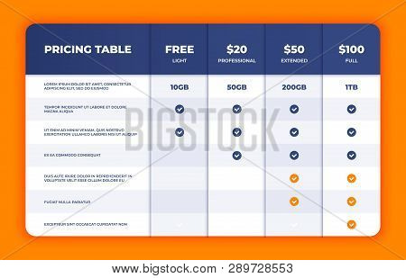 Comparison Table. Price Chart Template, Business Plan Pricing Grid, Web Banner Checklist Design Temp