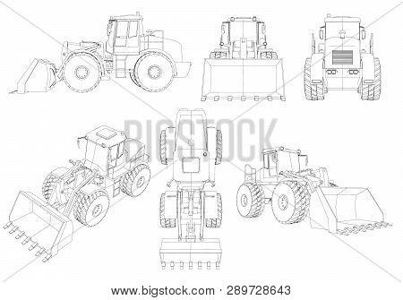 Set With Contours Of The Bulldozer. 3d. Black Line Bulldozer Isolated On White Background. Bulldozer