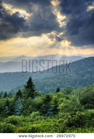 Sunbeams Light Rays Over Southern Appalachian Blue Ridge Mountains