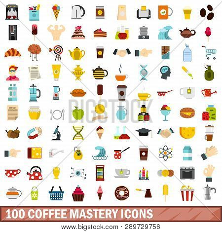 100 Coffee Mastery Icons Set In Flat Style For Any Design Illustration