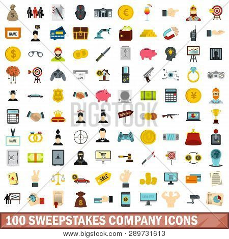 100 Sweepstakes Company Icons Set In Flat Style For Any Design Illustration
