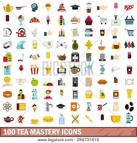 100 Tea Mastery Icons Set In Flat Style For Any Design Illustration