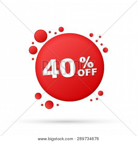 40 Percent  Off Sale Discount Banner. Discount Offer Price Tag. 40 Percent Discount Promotion Flat I