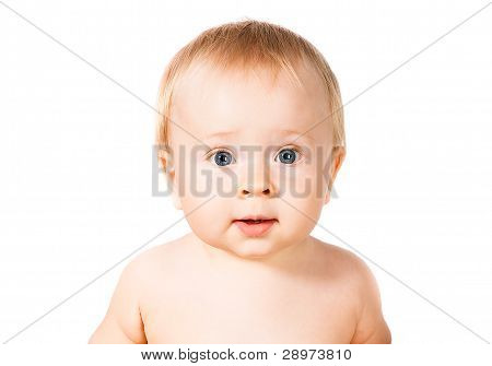 Surprised Cute Infant Baby Isolated On White Background