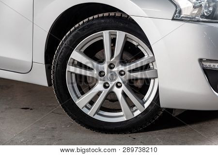 Novosibirsk, Russia - March 15, 2019:  Nissan Teana,close-up Of The Wheel. Photography Of A Modern C