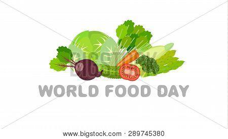 World Food Day Food Day. Vegetarian Food. Flat.