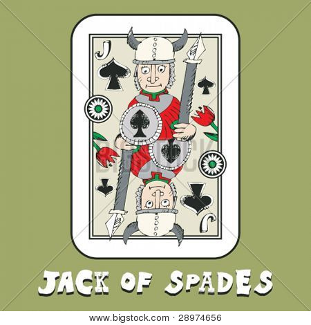 hand drawn deck of cards, doodle jack of spades