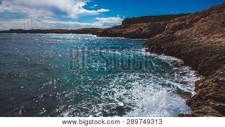 Beautiful Sea Shore In Cyprus. A View Of A Sea Shore In Kavo Greko Nenar Aiya Napa, Cyprus