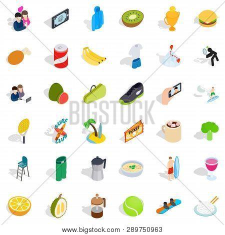 Vigorous Icons Set. Isometric Style Of 36 Vigorous Icons For Web Isolated On White Background