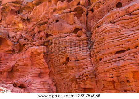Coloured Canyon is a rock formation on South Sinai (Egypt) peninsula. Desert rocks of multicolored sandstone background. poster