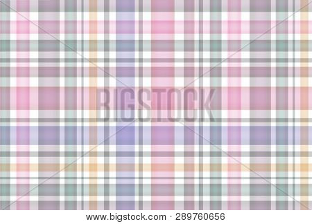 Groovy Seamless Plaid Pattern With Colorful Stripes. Pastel Colored Background Checkered Motif