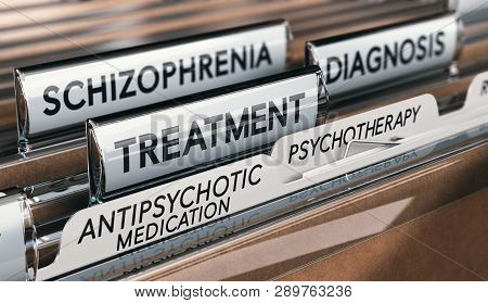 3d Illustration Of Files With Schizophrenia Diagnosis And Treatment With Antipsychotic Medication An