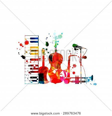 Music Background With Colorful Music Instruments Isolated Vector Illustration Design. Artistic Music