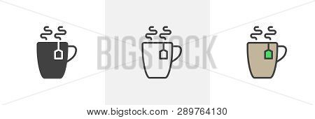 Hot Tea Cup Icon. Line, Glyph And Filled Outline Colorful Version, Tea Mug With Tea Bag Outline And