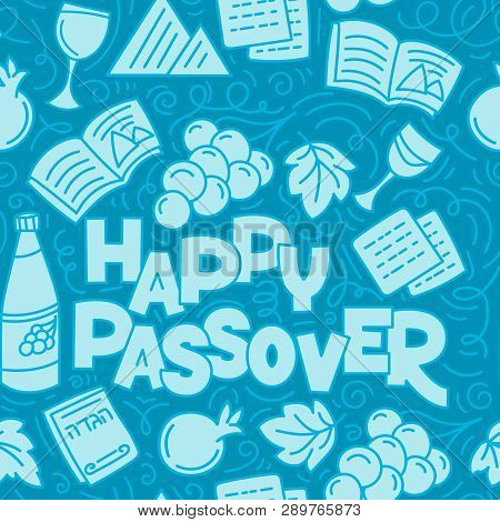 Passover Seamless Pattern Jewish Holiday Pesach . Hebrew Text Happy Passover. Monochrome Vector Illu